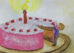 Postkarte Geburtstagskuchen von Carina Pencet