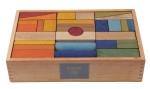 Wooden Story  - Regenbogen Bauklötze XL - 63 Teile